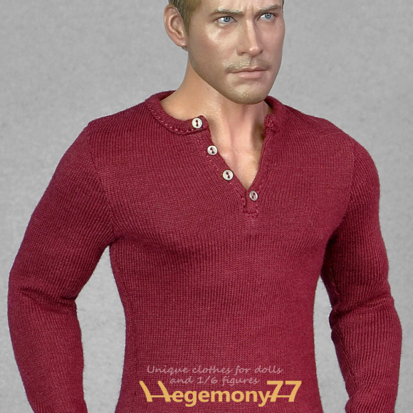 1 6th scale burgundy dark red long sleeve henley shirt inspired by The Winter Soldier..jpg