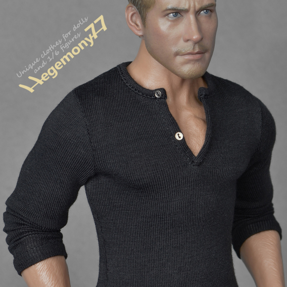 1 6th scale Stallone Cobra inspired black long sleeve henley shirt on Hot Toys TTM 19 collectible movable action figure.jpg