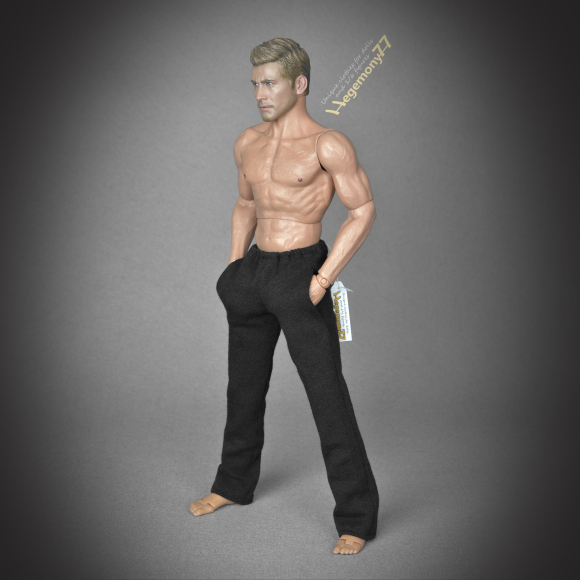 1 6th scale black sweatpants tracksuit bottoms on Hot Toys TTM 19 collectible movable action figure.JPG