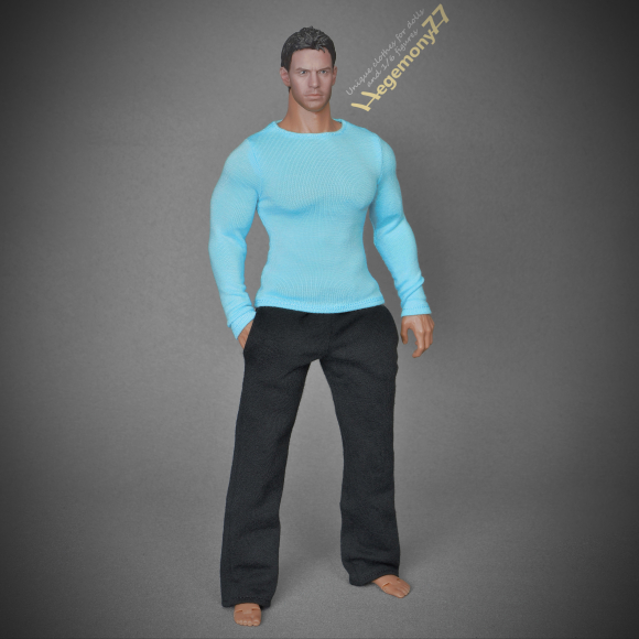 1 6th scale extra large black sweatpants tracksuit bottoms and blue long sleeves T shirt on Hot Toys TTM 20 advamced muscular collectible movable action figure.JPG
