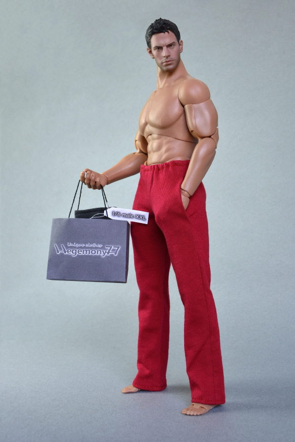 1 6th scale XXL red sweatpants tracksuit bottoms on Hot Toys TTM 20 size larger than standard action figure.JPG
