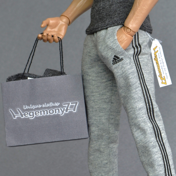 1 6th scale heather grey sweatpants tracksuit jogging bottoms with 2 real pockets on Hot Toys TTM 19 collectable poseable action figure.jpg
