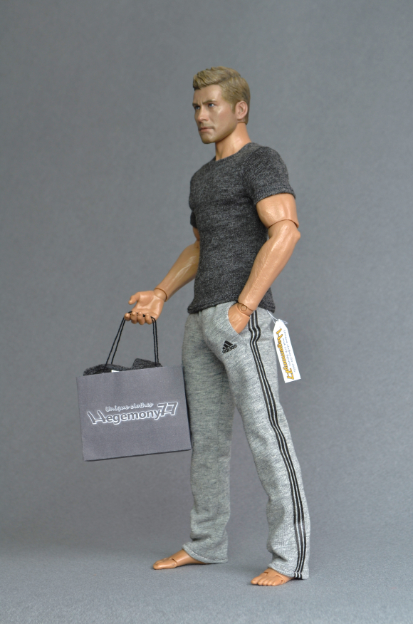 1 6th scale heather grey sweatpants tracksuit jogging bottoms with 2 real pockets and dark heather grey T-shirt  on Hot Toys TTM 19 collectable poseable action figure.JPG