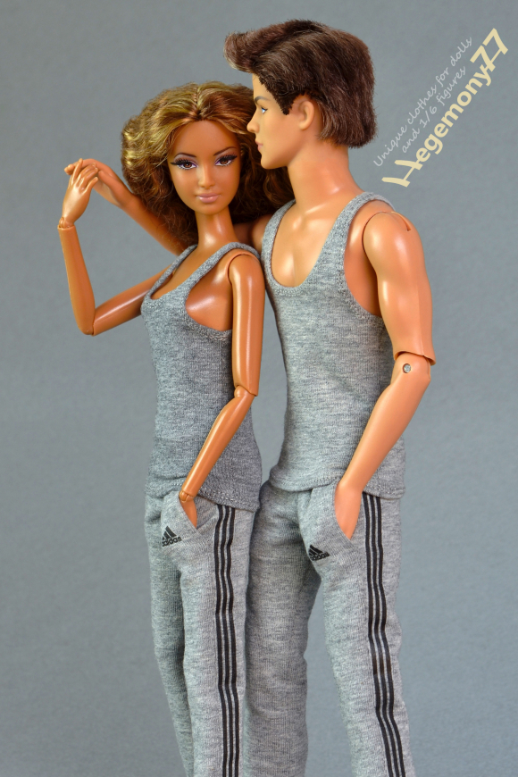 Barbie and Ken dolls in shades of grey - 1 6 scale tank top vest and sweatpants tracksuit jogging bottoms 23.jpg