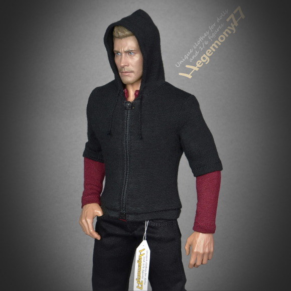 1 6th scale Hot Toys TTM 19 collectible movable action figure in black jeans zip hoodie and burgundy dark red henley shirt.jpg
