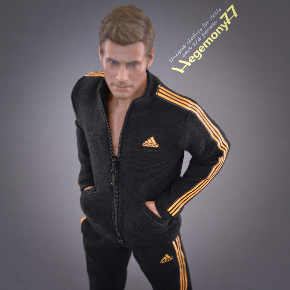 1 6th scale custom made black tracksuit jogger suit bottoms and zip top with 3 golden stripes on Hot Toys TTM 19 collectible movable action figure.JPG