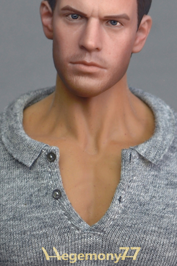 1 6th scale XXL grey polo shirt on Phicen M34 collectable poseable action figure doll - close up.jpg