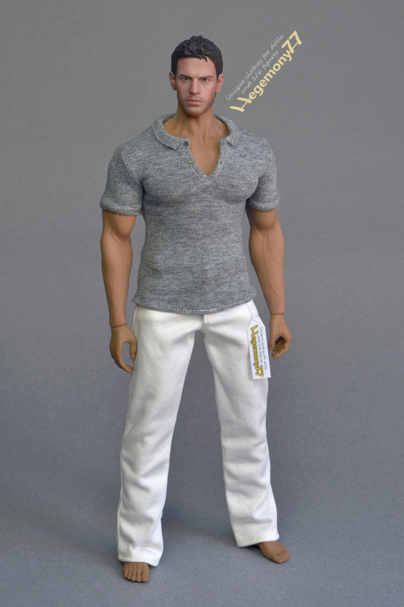 Phicen M34 collectable poseable action figure doll in 1 6th scale XXL grey polo shirt and white jeans pants trousers.JPG