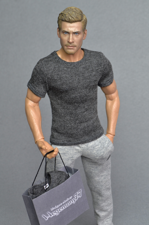 1 6th scale dark heather grey T-shirt and heather grey sweatpants tracksuit jogging bottoms with 2 real pockets on Hot Toys TTM 19 collectable poseable action figure.JPG