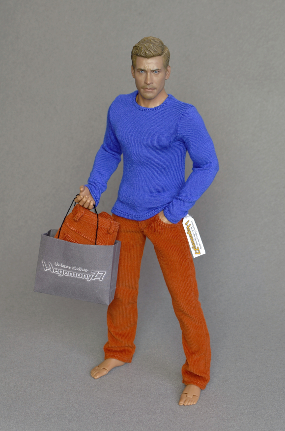 1 6 scale corduroy pants and blue long sleeves T-shirt on Hot Toys TTM 19 collectible poseable 12 inch action figure body.JPG