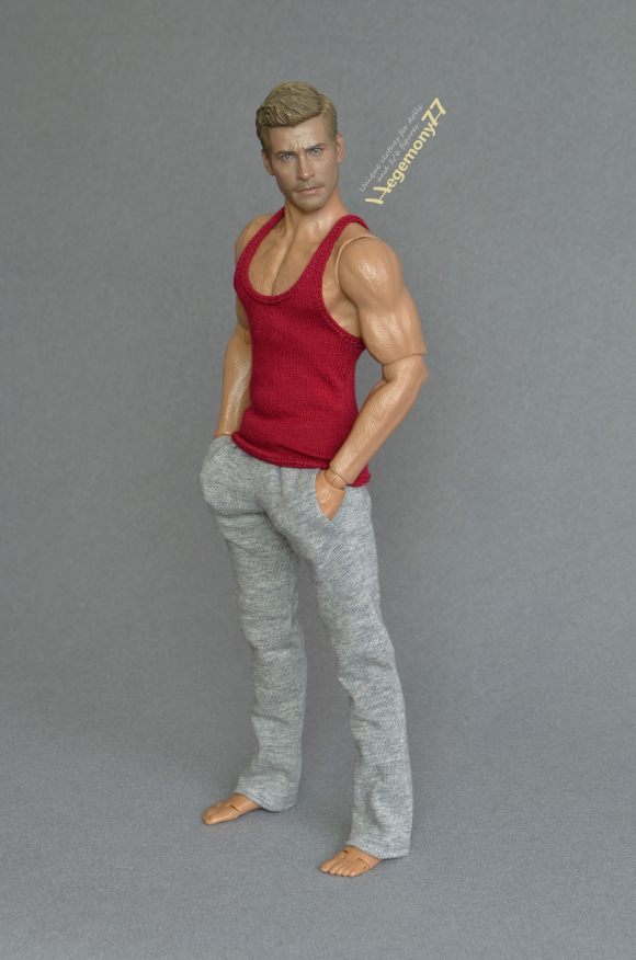 1 6 scale 12 inch Hot Toys TTM 19 collectible figure in red tank top vest and heather grey sweatpants tracksuit bottoms 23.JPG