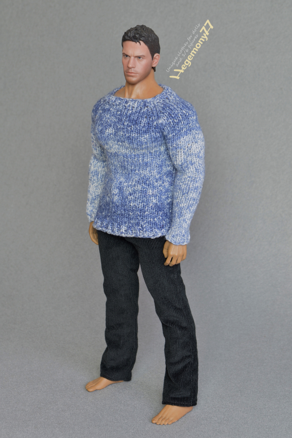 Phicen M34 seamless muscular collectible action figure doll body in 1 6 scale XXL blue hand knit sweater and black corduroy pants trousers 23.jpg
