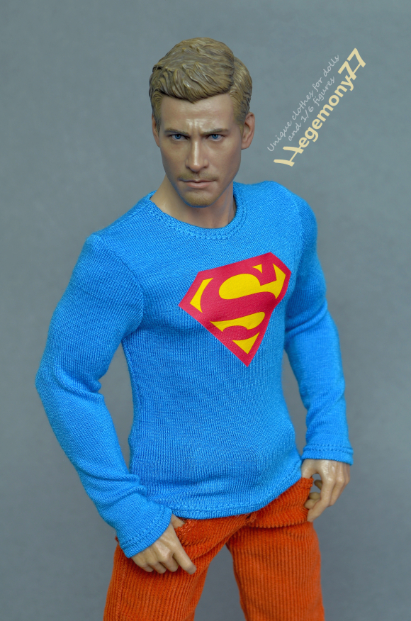 1 6 scale Superman inspired light blue T shirt for 12 inch collectible action figures and male fashion dolls 23.JPG