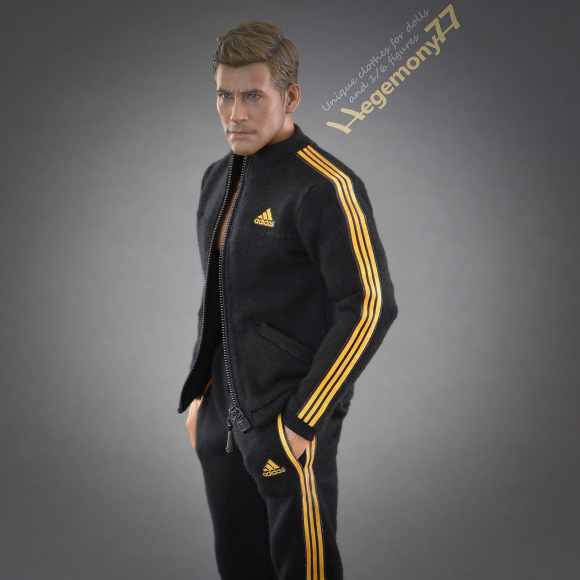 1 6th scale custom made black tracksuit jogger suit bottoms and zipped top with 3 golden stripes on Hot Toys TTM 19 collectible movable action figure.JPG
