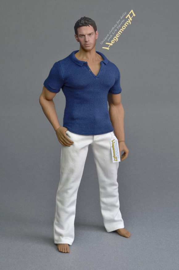 Phicen M34 flexible seamless muscular collectible action figure doll body with steel skeleton in 1 6th scale XXL navy blue polo shirt and white jeans pants trousers.JPG
