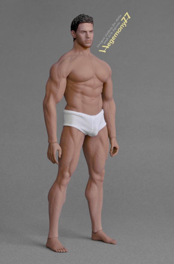 Phicen M34 flexible seamless muscular action figure doll body with steel skeleton in white briefs mens underwear.JPG