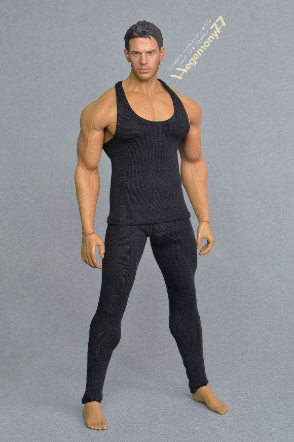 1 6 scale XXL black leggings and tank top vest on Phicen M34 flexible seamless muscular male figure doll body 23.JPG