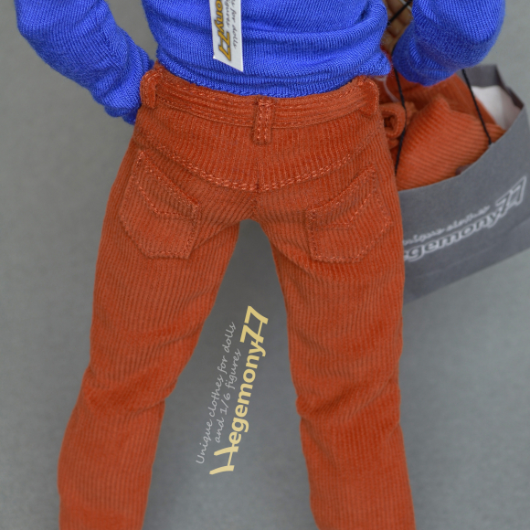 1 6 scale corduroy pants on Hot Toys TTM 19 collectible poseable 12 inch action figure body.JPG