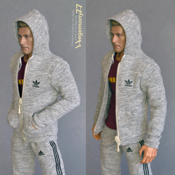 1 6th scale custom Sunnydale T-shirt and sweatpants and tracksuit top zip hoodie - inspired by Buffy the Vampire Slayer - on 12 inch Hot Toys TTM 19 collectible figure.jpg