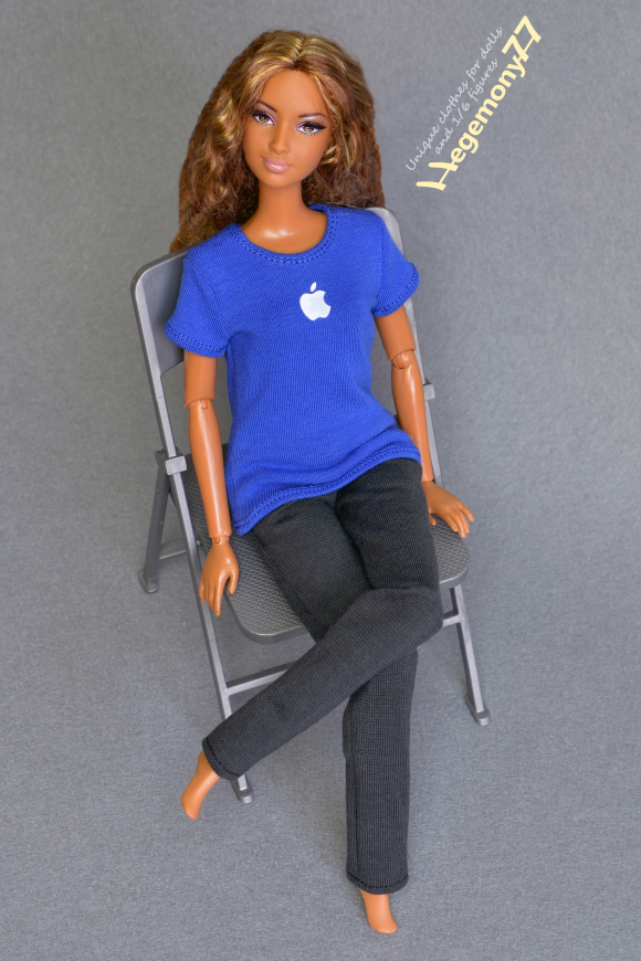Custom Barbie doll size blue Apple genius store advisor T-shirt and dark grey sweatpants.JPG