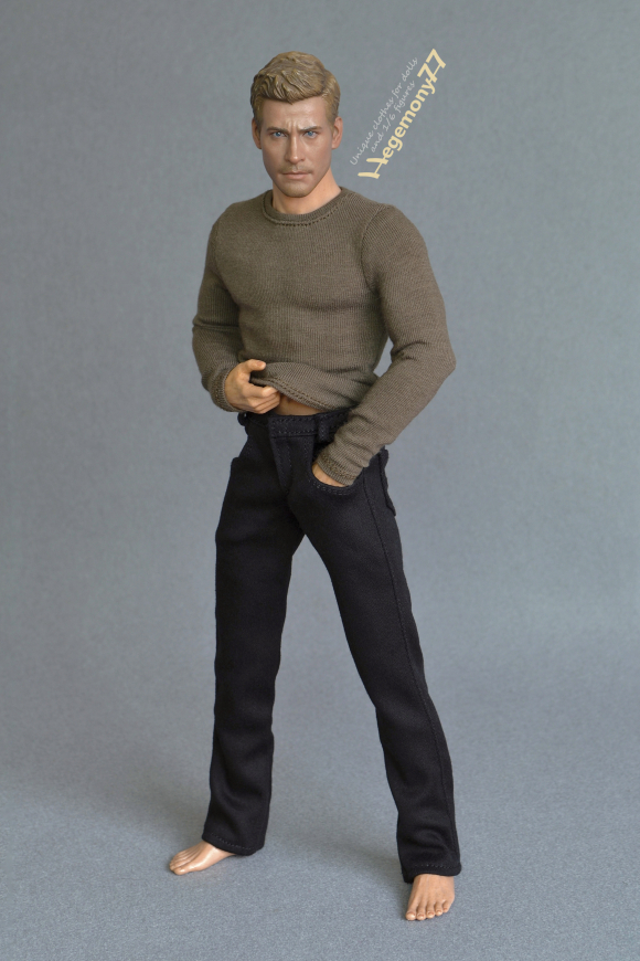 1 6 scale black jeans pants trousers and long-sleeve olive drab T-shirt on World Box 12 inch collectible poseable figure 23.JPG