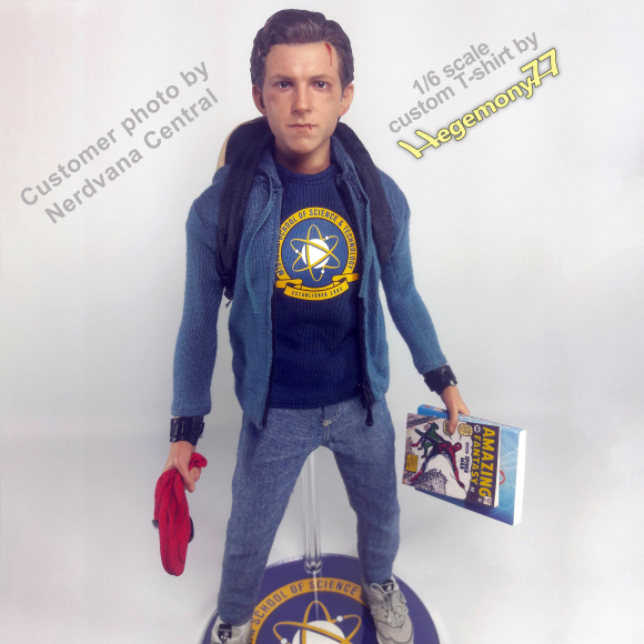 1 6th scale custom Spider-Man Homecoming Peter Parker - Midtown School of Science Technology graphic T-shirt version.jpg