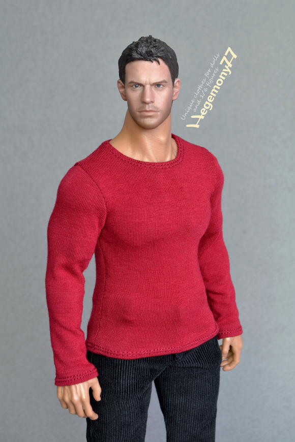 1 6th scale XXL dark cherry red T-shirt for Phicen TBLeague M34 and Hot Toys TTM 20 size bigger action figures and male fashion dolls.jpg