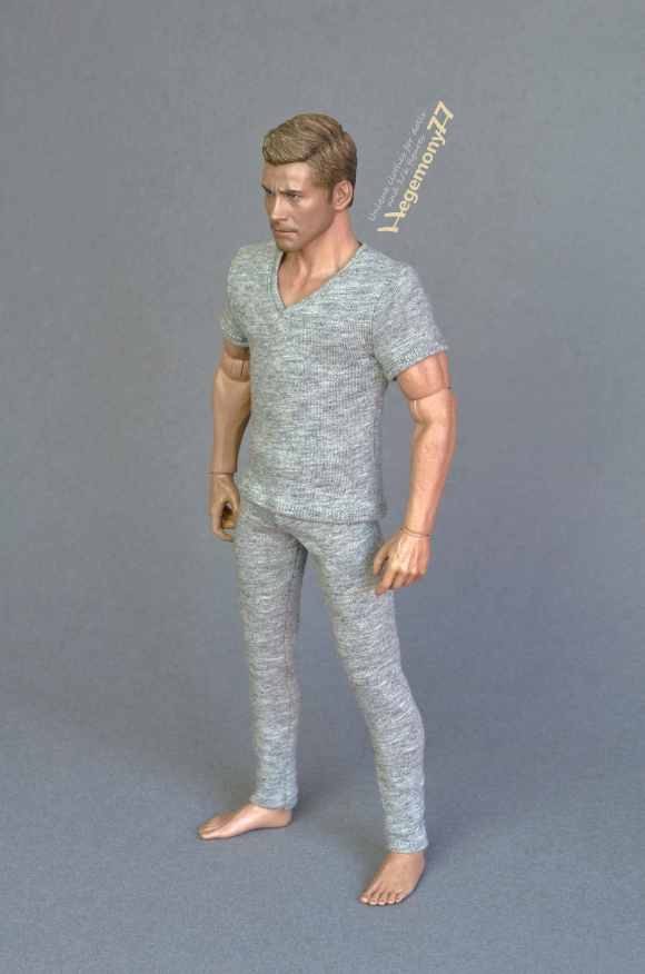 1 6 scale collectible figure in heather grey V-neck T-shirt and leggings.JPG