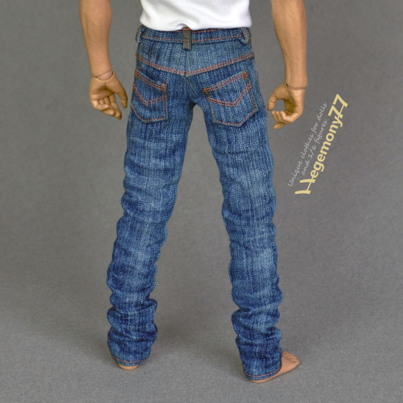 1 6 scale hand washed blue denim jeans pants trousers on 12 inch collectible action figure.jpg