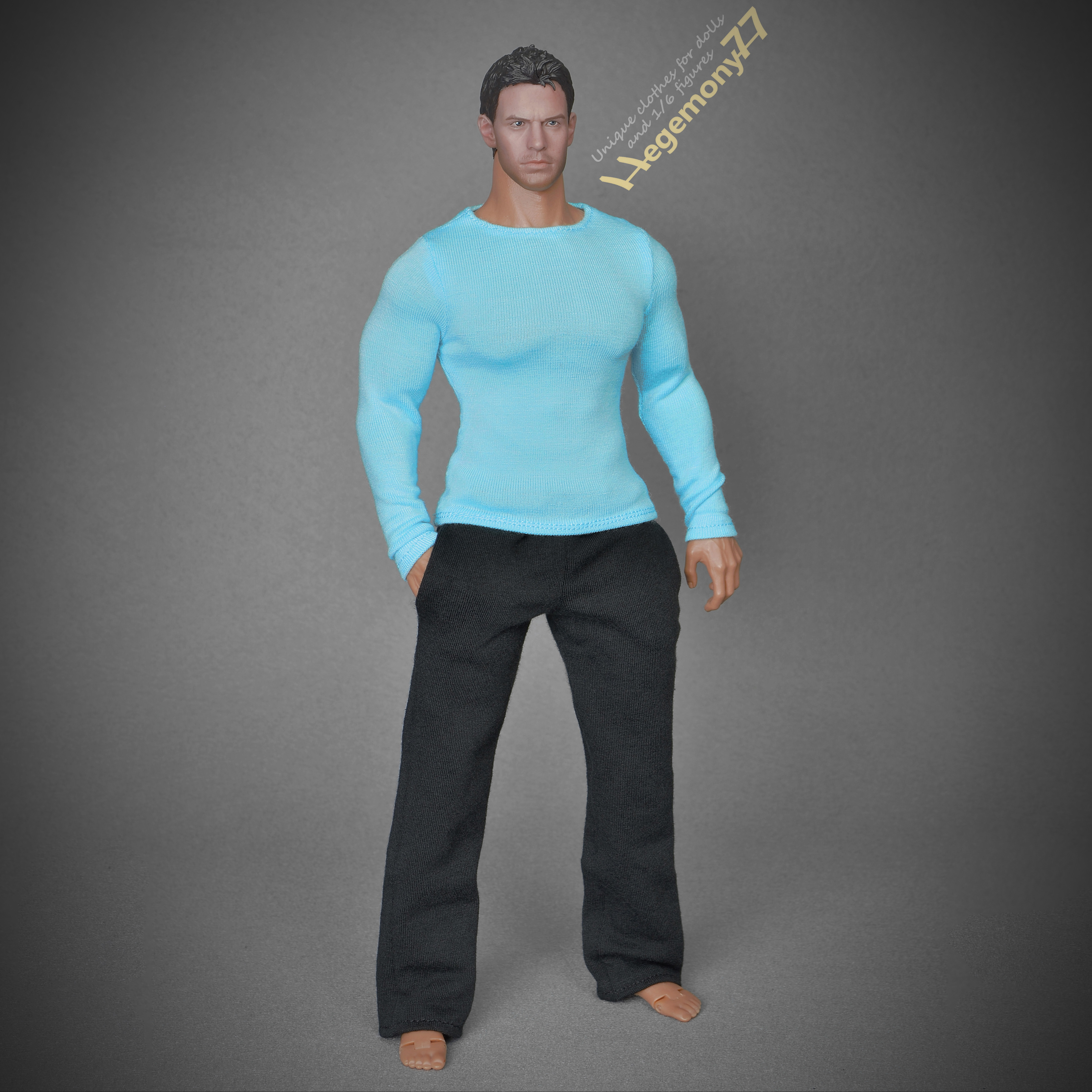39e6e2bdd7967 1 6th scale extra large black sweatpants tracksuit bottoms and blue long  sleeves T shirt on