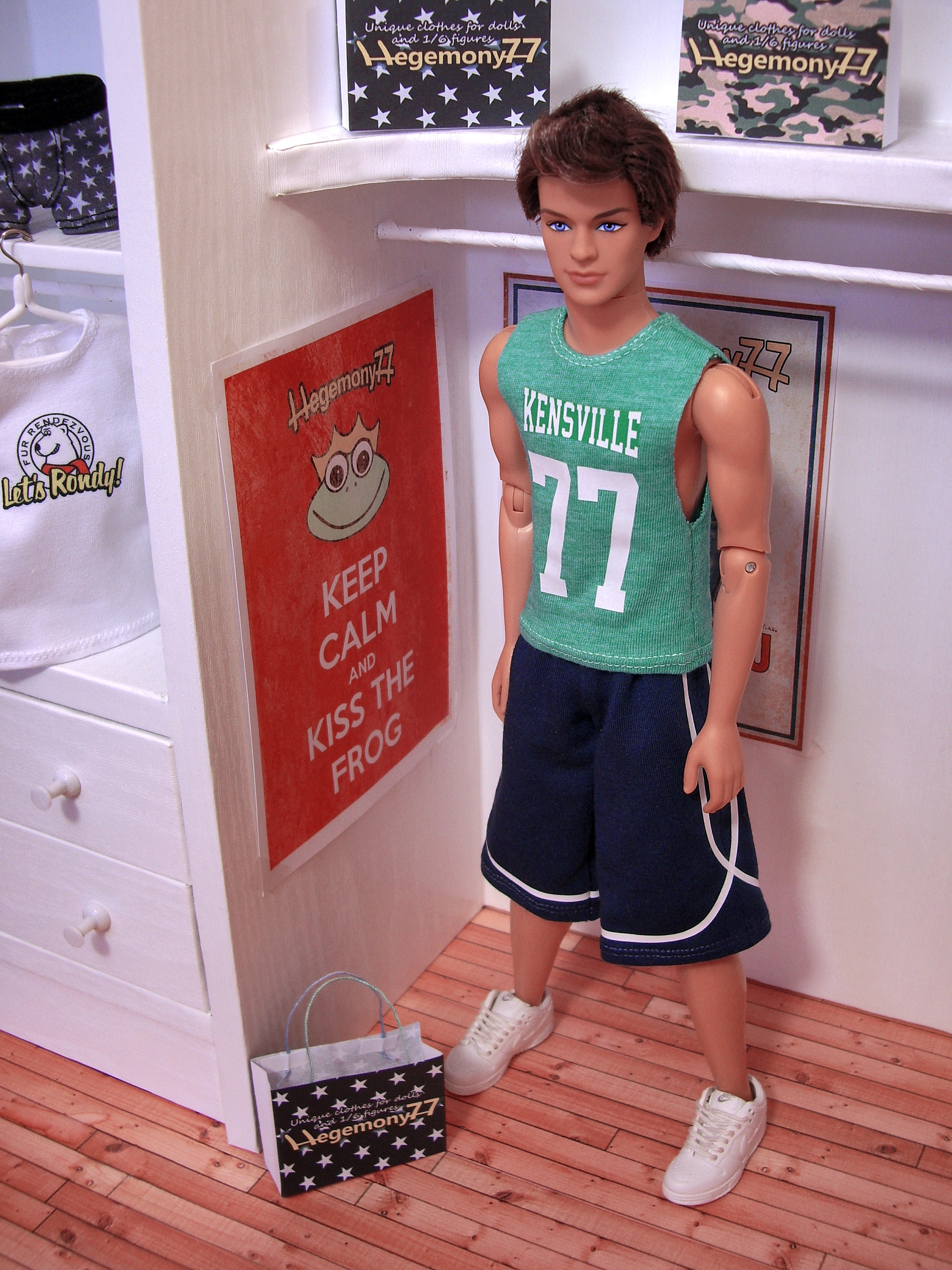 Ken doll in personalized custom cut off shirt and basketball,NBAJERSEYS_RPOMIAK309,1:6 scale personalized custom doll clothes and photo made by Hegemony77